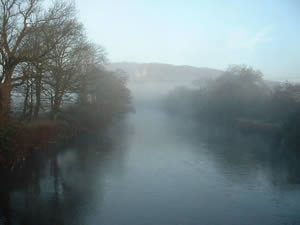 Mist on the River Taff next to Gelynis Farm
